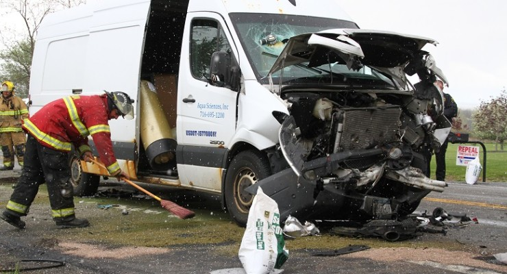 Chemical Van Rear-Ends International Tour Bus in Piffard
