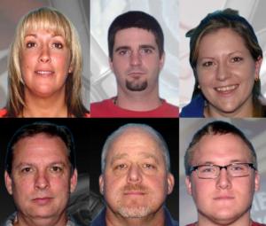 (L-R, from top) Lauri Burris, Jacob Chapman, Melissa Burris, Ronald Brown, Gregory Burris, and Douglas Rowe. (Photos/Jacksonville Sheriff's Office)