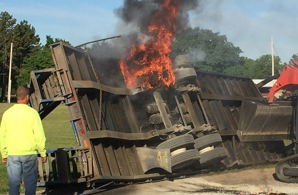 Bad Brake Burns Trailer at SUNY Geneseo