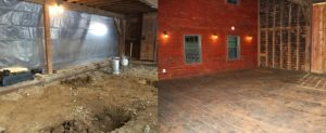 Before and after in the barn. (L photo/Molly Cummings. R photo/Conrad Baker)