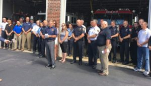 Gallivan speaks with members of the Geneseo Police Department, Geneseo Fire and Ambulance, Livingston County Sheriff's Office, Genesee Valley EMS, Caledonia Police Department, and Chances and Changes in attendance. (Photo courtesy of Jim Ranney)