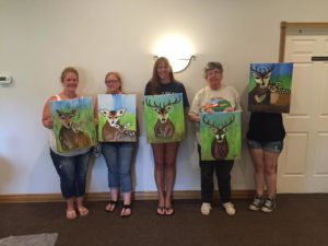 The results of a 'paint n sip' at Deer Run Winery in Geneseo. (Photo/Abandoned Palette Studios via Facebook)