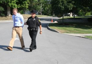 Dahlberg escorted from court by Deputy Michael Hillier. (Photo/Conrad Baker)