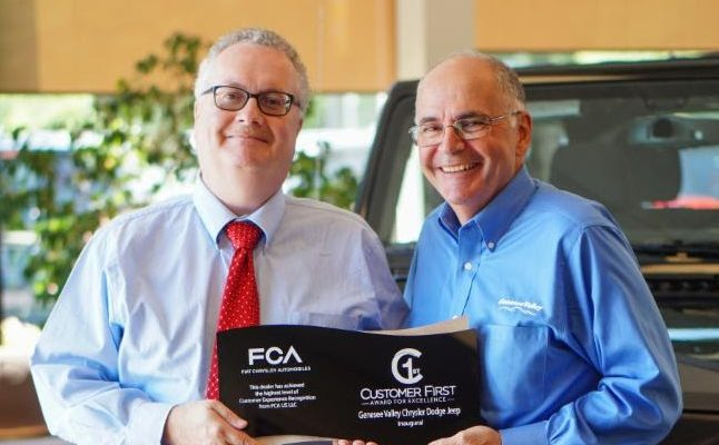 Avon's Genesee Valley Chrysler Dodge Wins FCA 'Customer First' Award