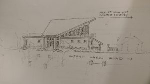 A sketch of the approved rebuild. The rebuild was supposes to taper on the lake side, away from neighboring properties. Shown at Planning Board and Zoning Board meetings.