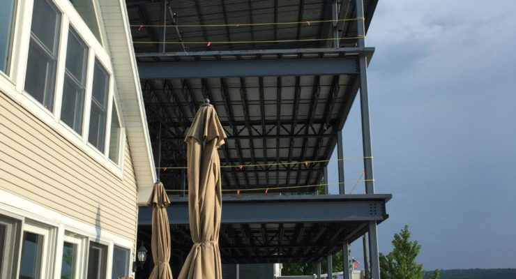 The structure extends about 25 feet closer to the lake than the approved rebuild. (Photo/Robert Siracusa)