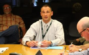 Avon Central Schools Superintendent Dr. Aaron Johnson addresses the Village and Town boards. (Photo/Conrad Baker)