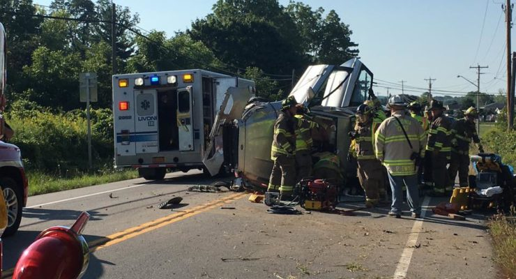 Distracted Driver Led to Livonia Rollover