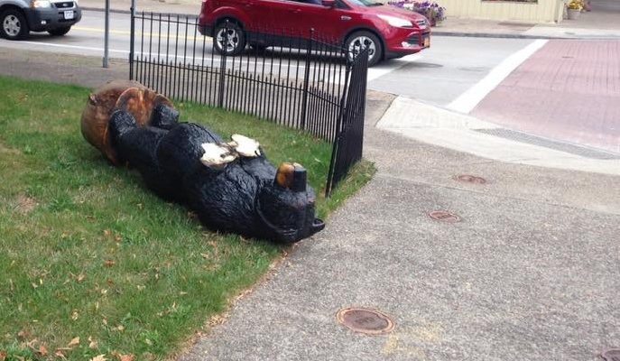 Vandals Knock Mount Morris' Celebrity Bear