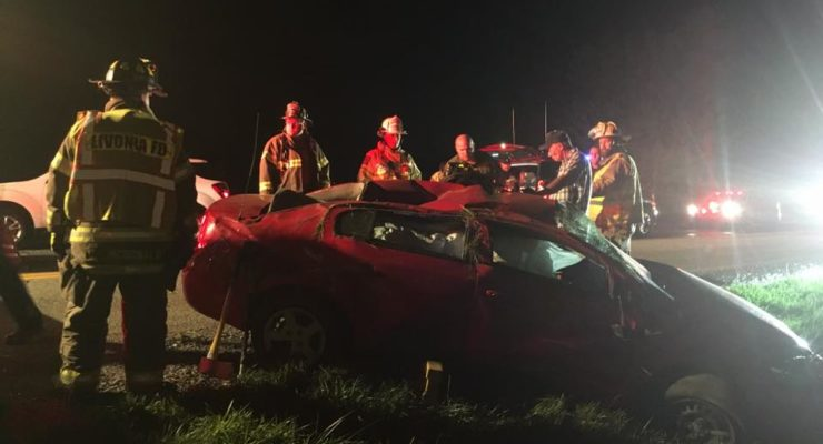 Deputies Investigate Livonia Rollover that Injured 1