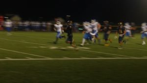 Perry RB Austin Croll rushes by the Geneseo defense for his first of two TDs in the game.