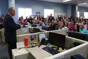 Sen. Schumer addresses Coast employees. (Photo/Conrad Baker)