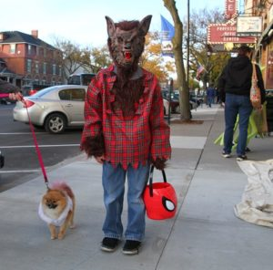 The very slight crescent moon kept this scary werewolf friendly for trick-or-treating. (Photo/Conrad Baker)