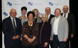 Front row: Chuck DiPasquale, Mary Ann Dalrymple, MaryAnn Correnti, Adam Harter. Back Row: Stephanie Gehrig accepting on bahalf of Jerry Gehrig (Posthumous), Dawn Correnti accepting on bahalf of John Correnti (Posthumous), Terry Flynn, Sam Bozzette