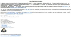 Copy of the email sent to students