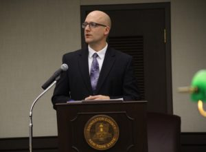 County Administrator Ian Coyle proposes the budget. (Photo/Conrad Baker)