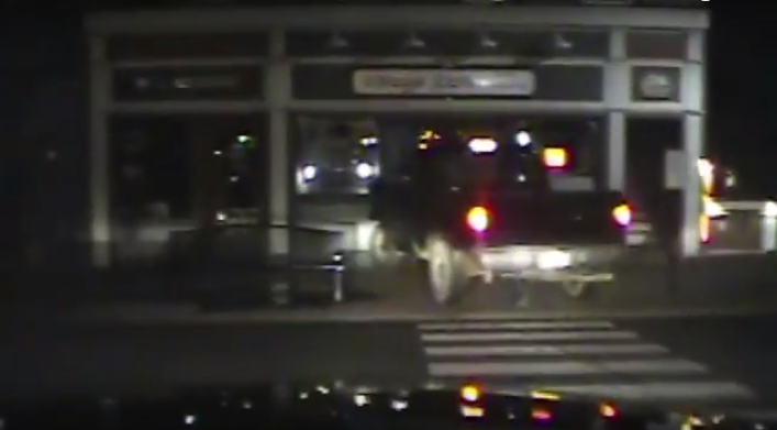 WATCH: Pickup Strikes Bear Fountain in Front of Police