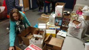 Canned donations piled high. (Photo/Conrad Baker)