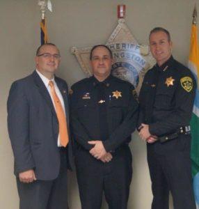 (L-R) Communications Director Bill Mann, Senior Dispatcher Brian Wood, Sheriff Thomas Dougherty. (Photo/Livingston County Sheriff's Office)