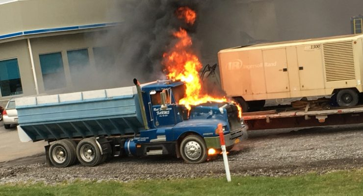 Truck Burns at Fastenal in Avon