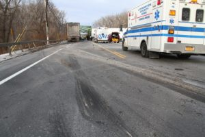 Skidmarks in the northbound lane of Rte. 63. (Photo/Conrad Baker)