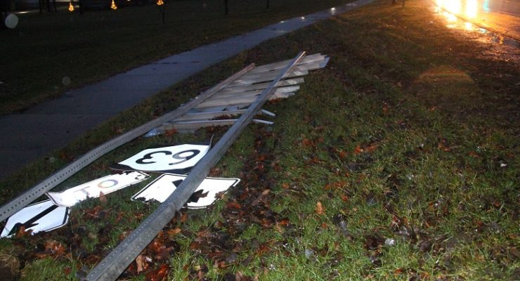 Truck Takes out Geneseo's Rte. 63 Sign