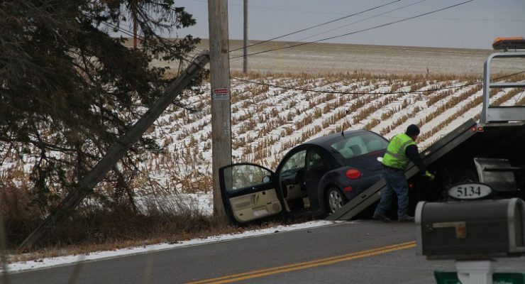Car Knocks Down Geneseo Telephone Pole