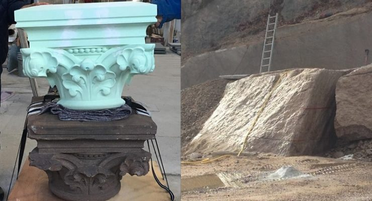 New England Stone Workers Chip Away at Bear Fountain Restoration