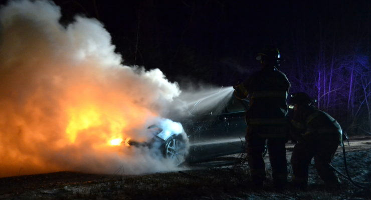 Car Catches Fire in Livonia