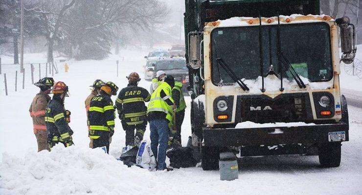 Plow Struck Garbage Truck in Avon