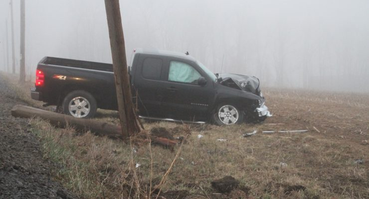 Pickup Wrecks Utility Pole in Geneseo