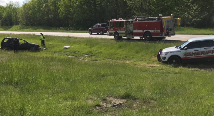 Driver Airlifted from 390 Rollover in Livingston County