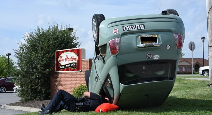 Odd Crash with SUV Flipped Fiat in Geneseo