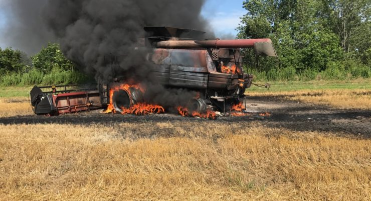 Farmers and Firefighters Contain Fire to Combine