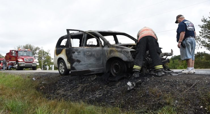 Sluggish Car Bursts Into Flames in Sparta