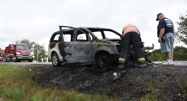 Sluggish Car Bursts Into Flames in Sparta