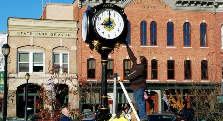Avon Lions Pooled $12K for New Circle Park Clock
