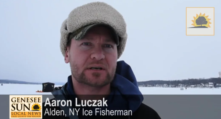 SUN VIDEO: School of Bluegills Tangles with Conesus Lake Ice Fishermen