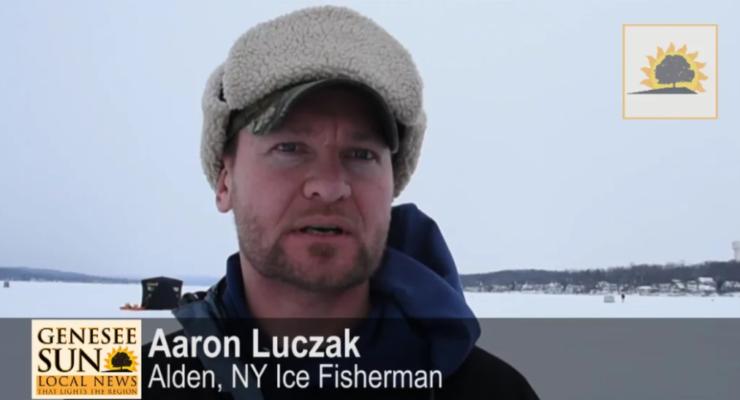 SUN VIDEO: School of Bluegills Tangles with Conesus Lake Ice Fishermen