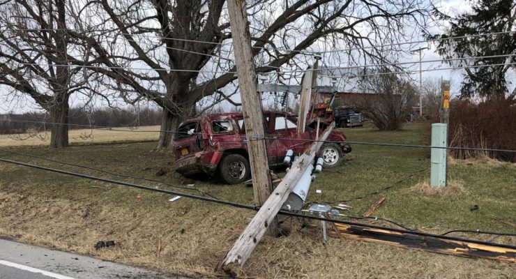 One Injured as Jeep Strikes Livonia Utility Poles
