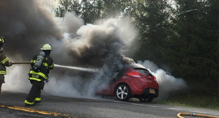 No Injuries Reported in Hemlock Car Fire