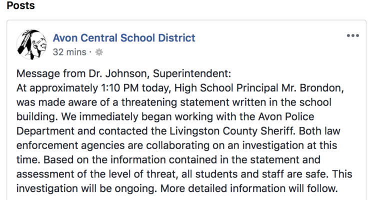 All Safe as Avon Central School and Law Enforcement Officials Investigate Threat