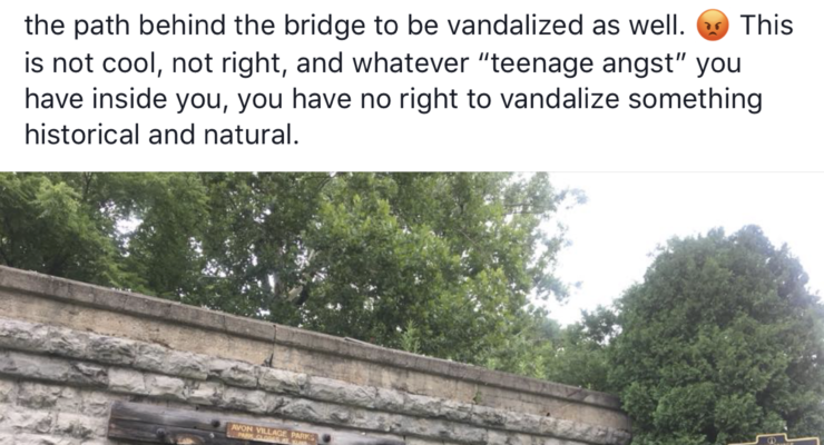 Avon's Five-Arch Bridge Vandalzied
