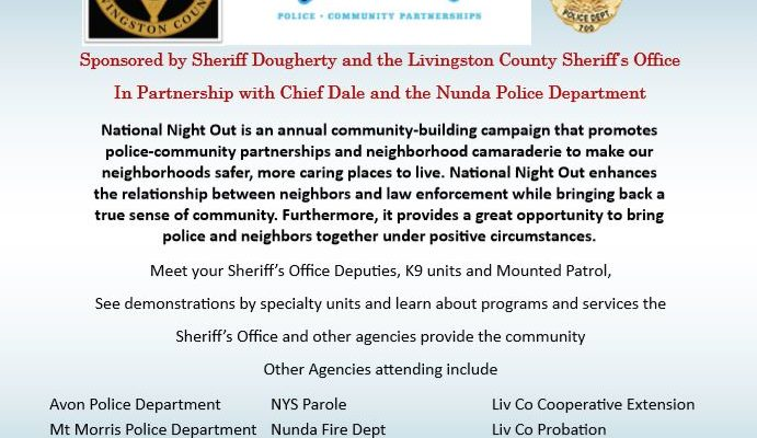 Join LCSO Tonight At The Nunda National Night Out