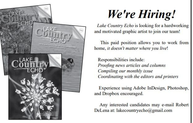 WANTED:  LAYOUT ARTIST FOR LAKE COUTRY ECHO
