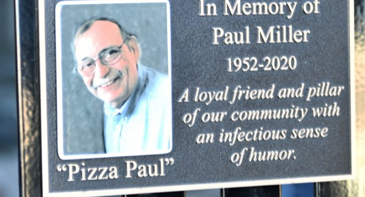 GENESEO KIWANIS DEDICATE MEMORIAL  BENCH TO PIZZA PAUL MILLER By Mike Tenalio